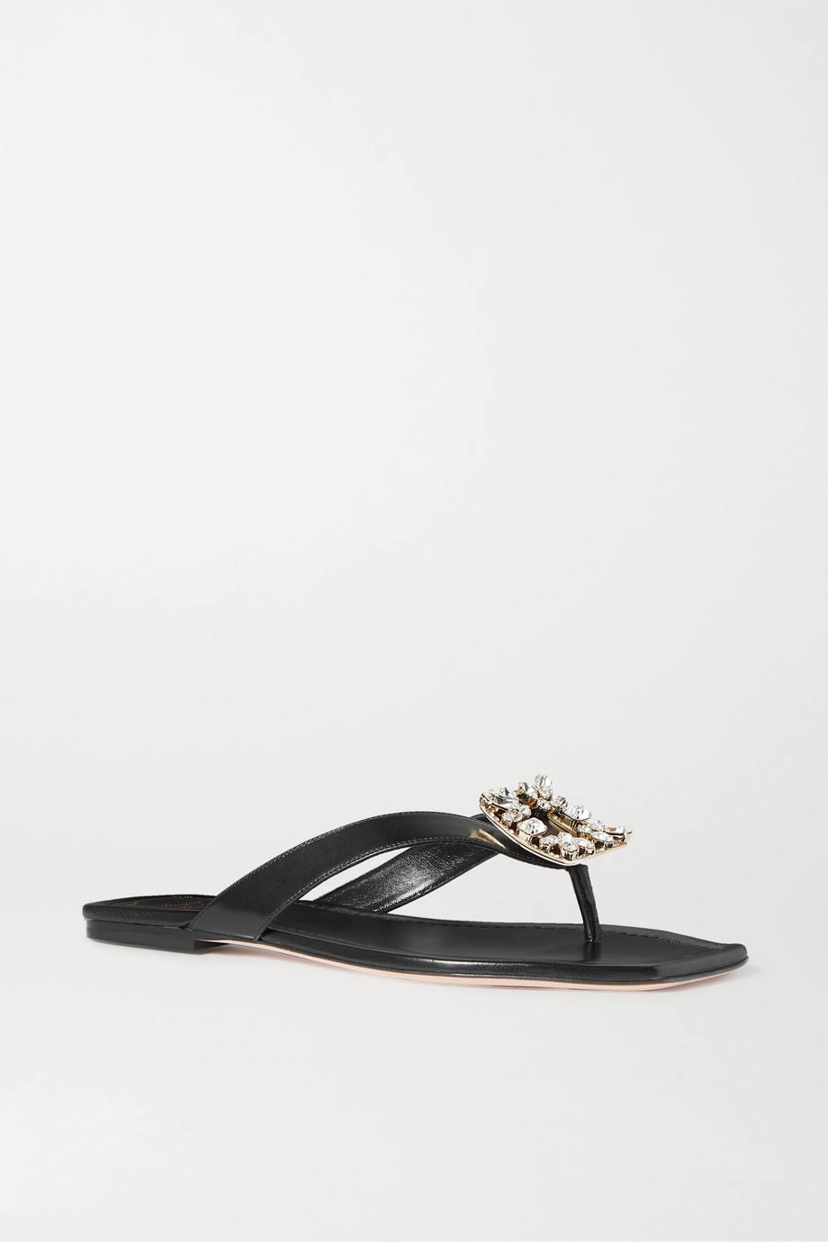 ROGER VIVIER Crystal-embellished leather flip flops