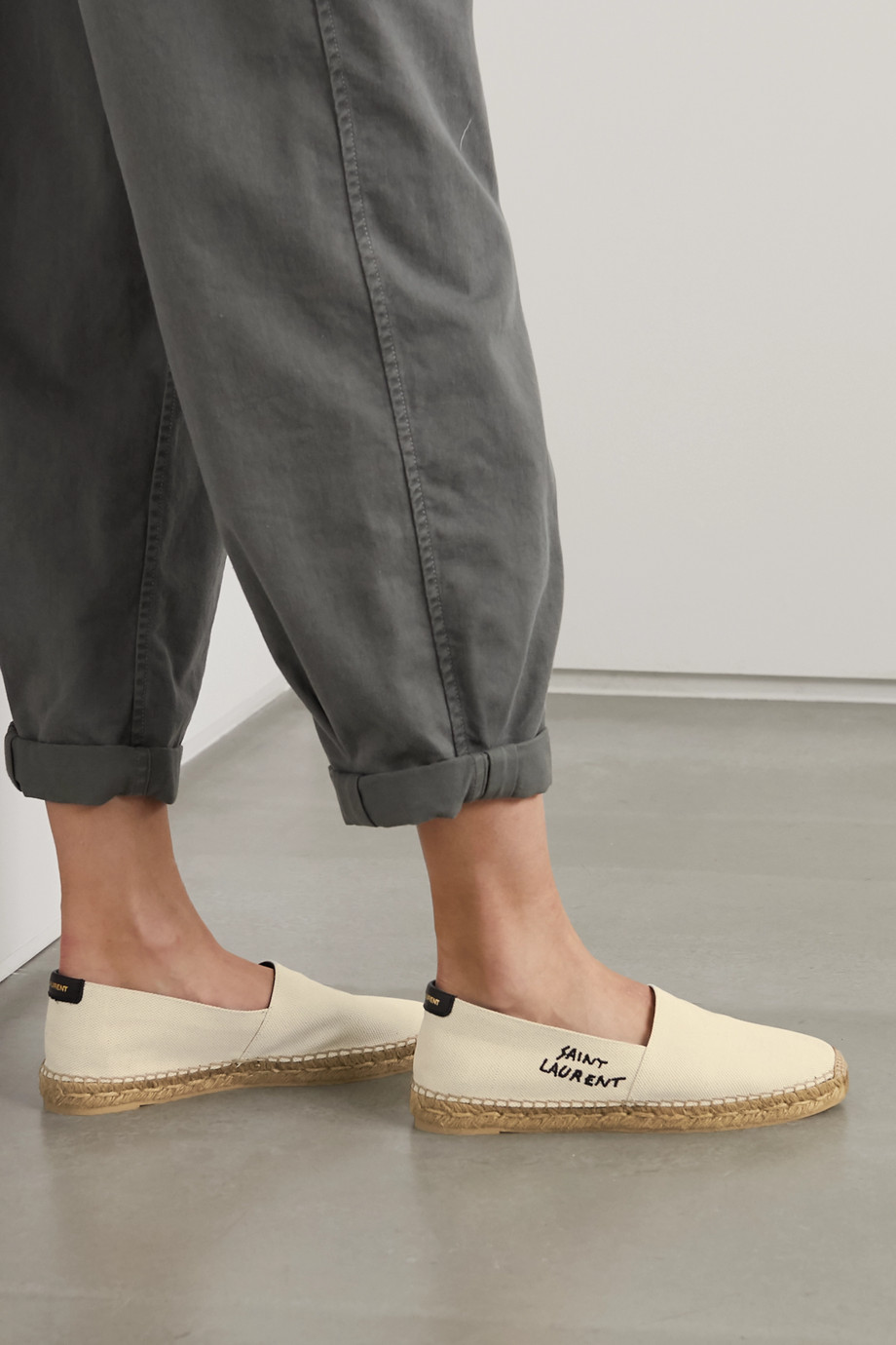 SAINT LAURENT Logo-embroidered canvas espadrilles