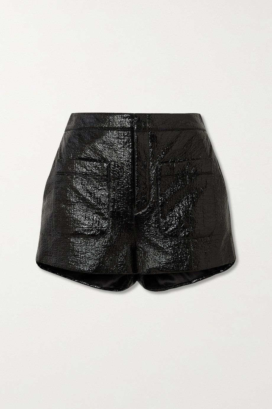 SAINT LAURENT Crinkled glossed faux leather shorts
