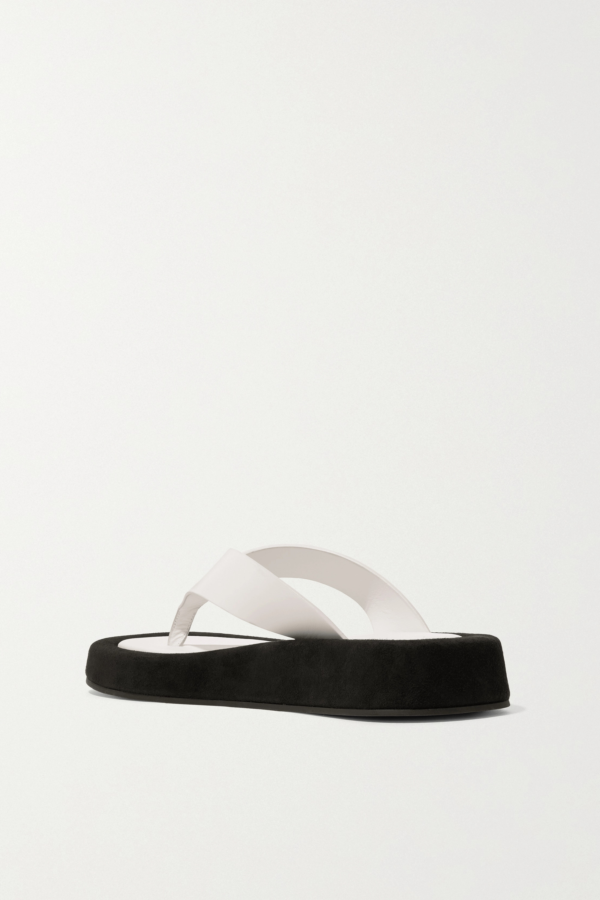 THE ROW Ginza leather and suede platform flip flops