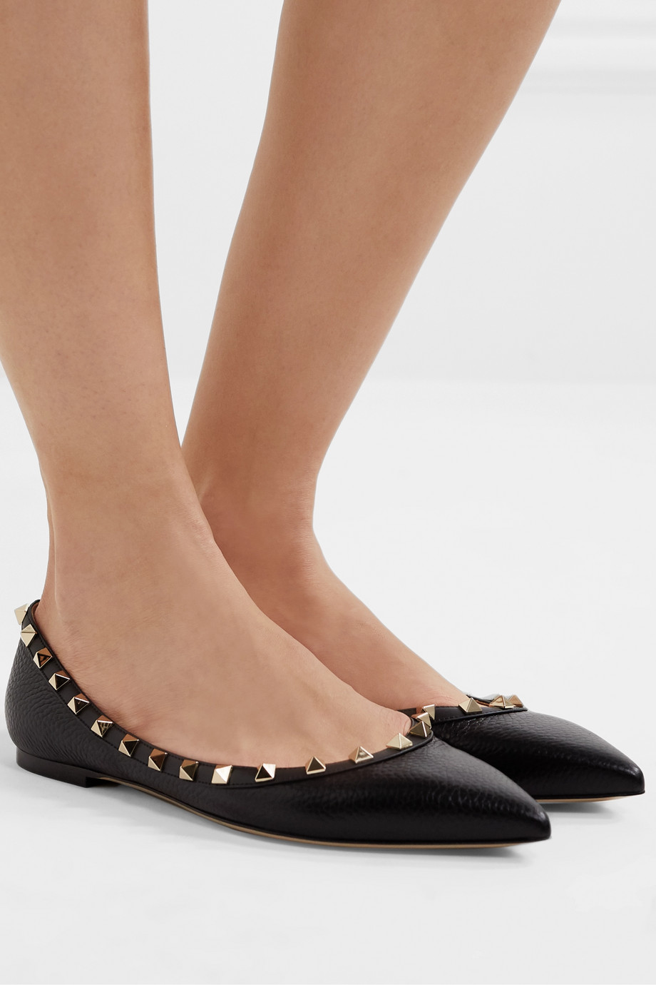 VALENTINO Valentino Garavani Rockstud textured-leather point-toe flats