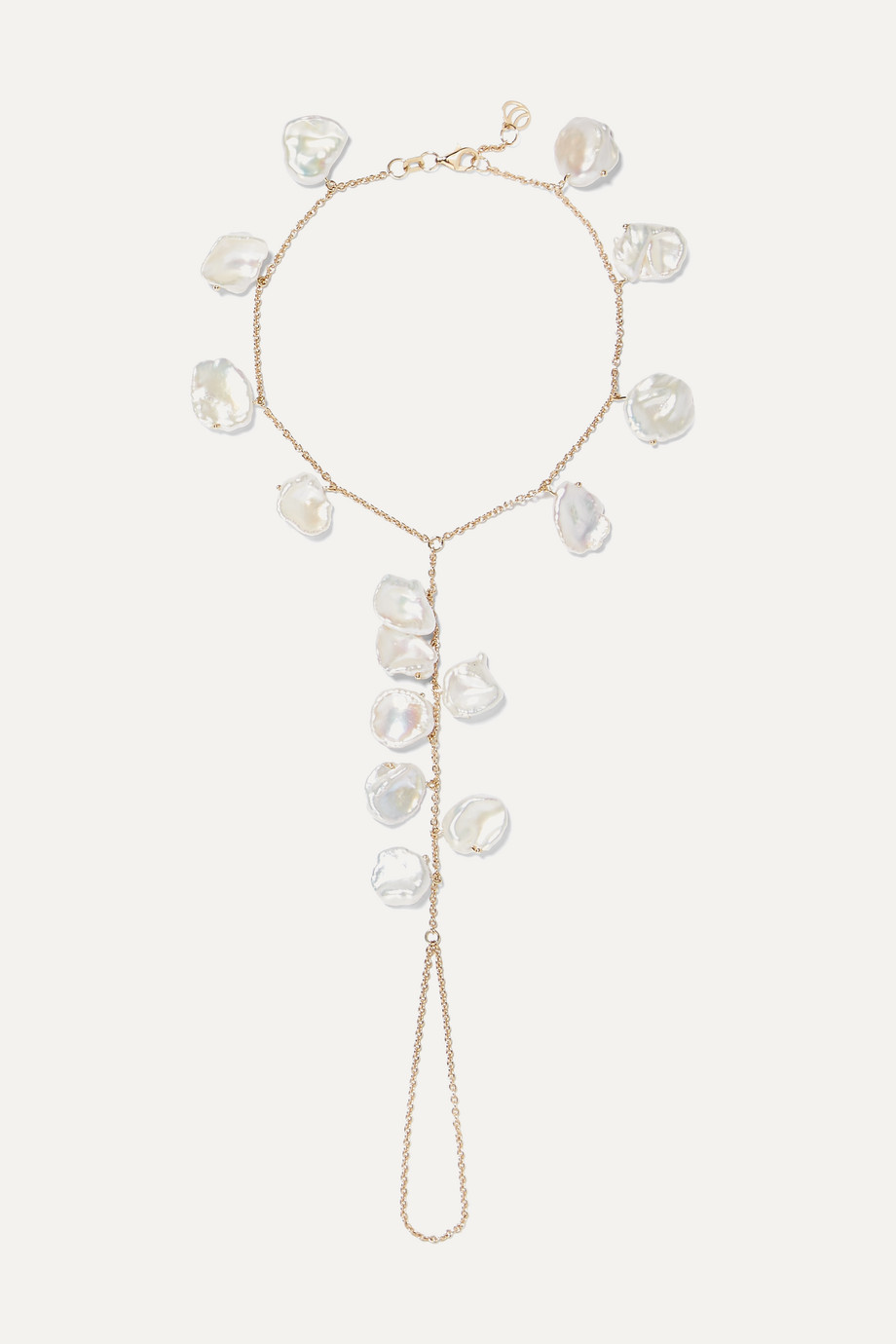 Charms Company 14-karat gold pearl anklet