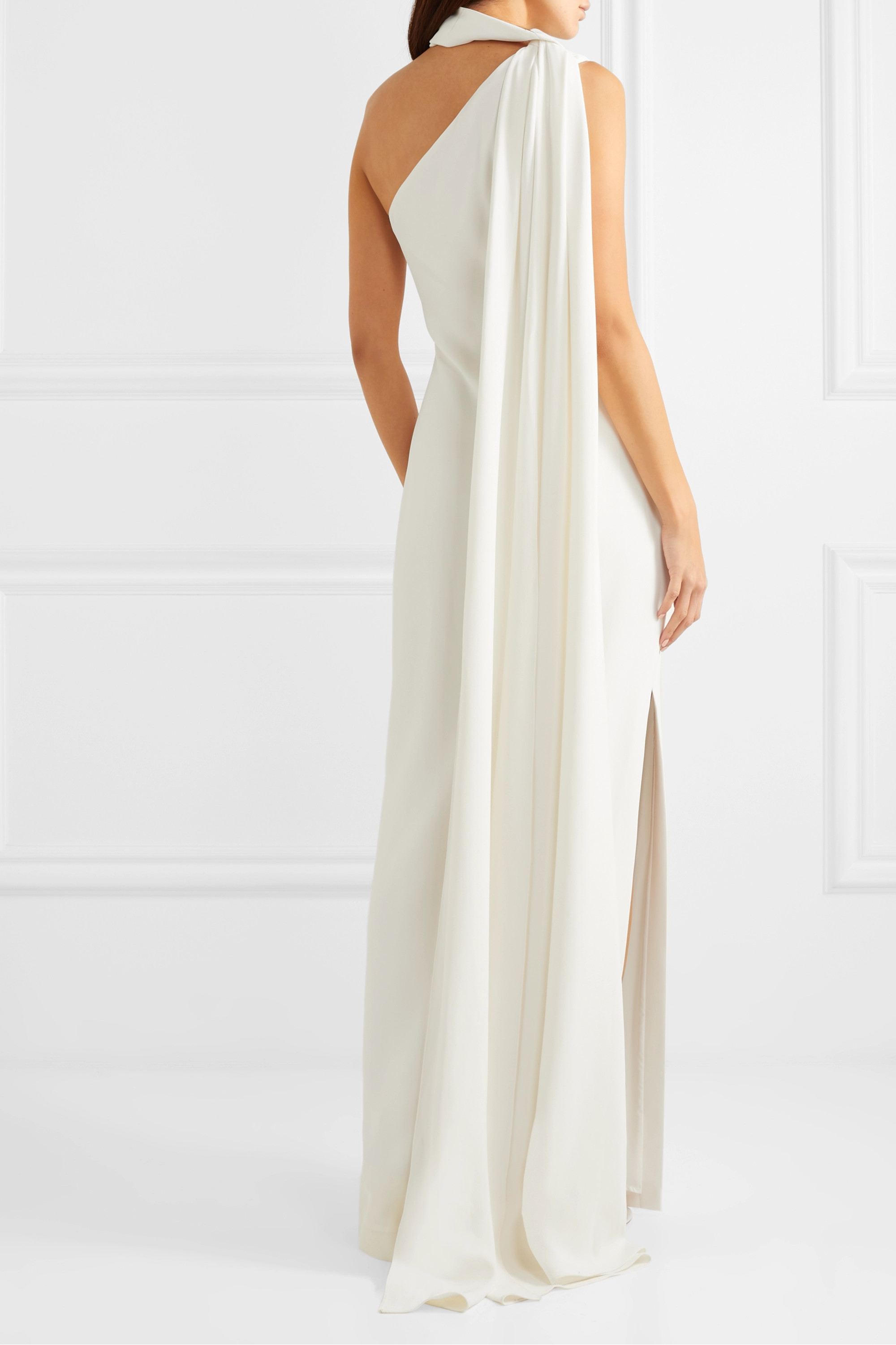 White One Shoulder Draped Crepe Gown Brandon Maxwell Net A Porter
