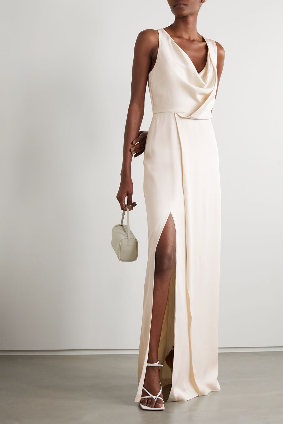 HALSTON Draped hammered-satin gown