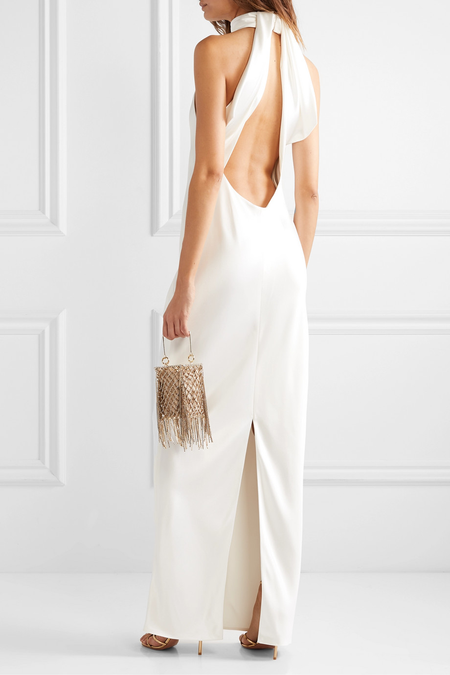 BRANDON MAXWELL Open-back silk-charmeuse halterneck gown