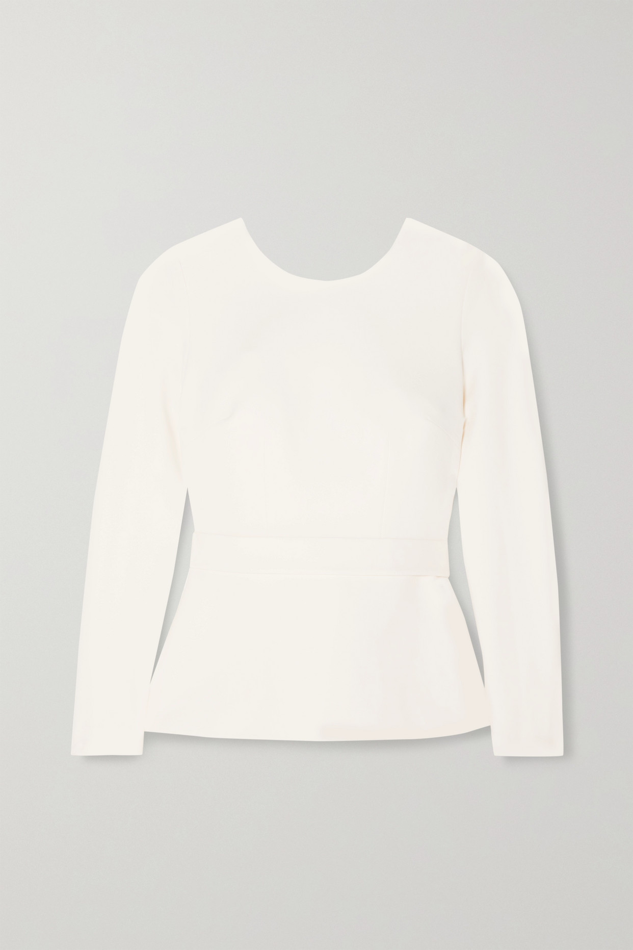 SAFIYAA - Saura Belted Open-back Crepe Top - Ivory - FR38