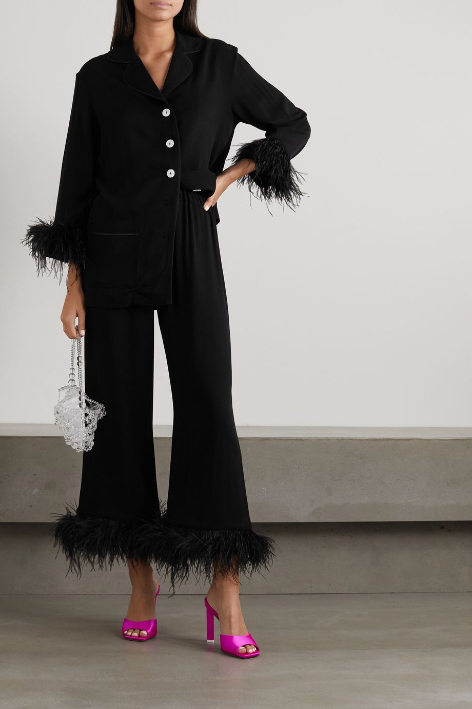 SLEEPER Black Tie feather-trimmed crepe de chine pajama set