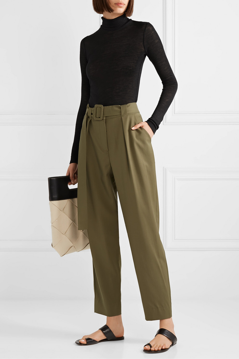FRANCES DE LOURDES Lucie slub cashmere and silk-blend turtleneck top
