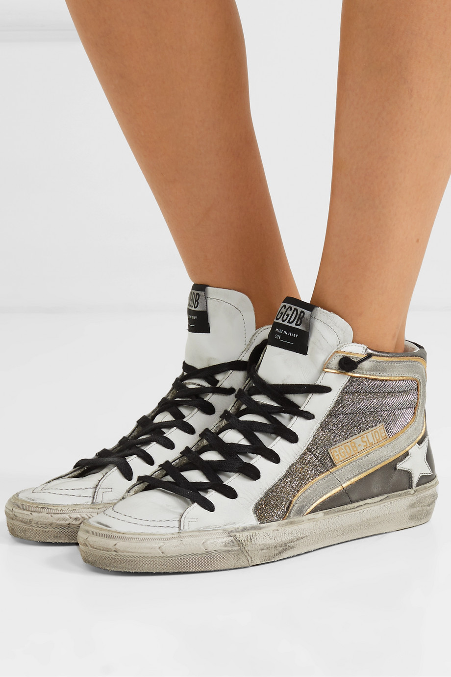 GOLDEN GOOSE Slide distressed suede-trimmed leather and Lurex high-top sneakers