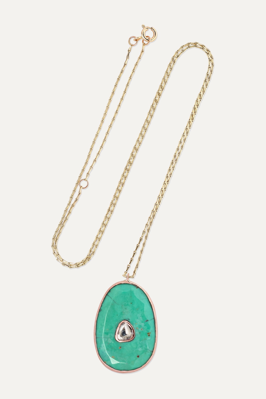 PASCALE MONVOISIN Simone 9-karat yellow and rose gold, turquoise and diamond necklace