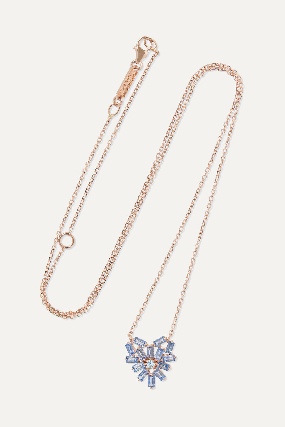 SUZANNE KALAN 18-karat rose gold, sapphire and diamond necklace
