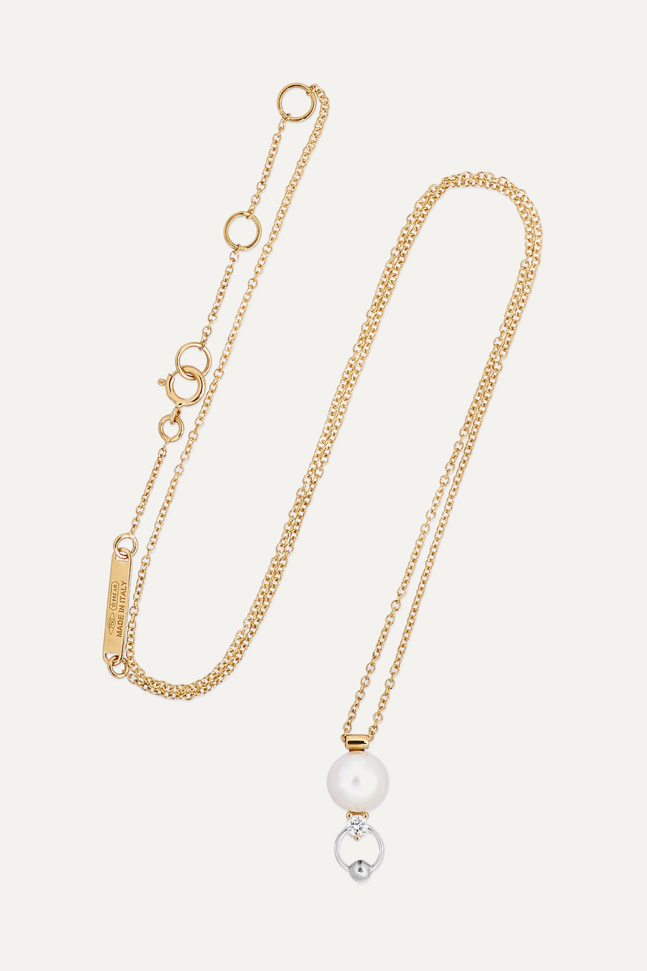 DELFINA DELETTREZ 18-karat yellow and white gold diamond and pearl necklace