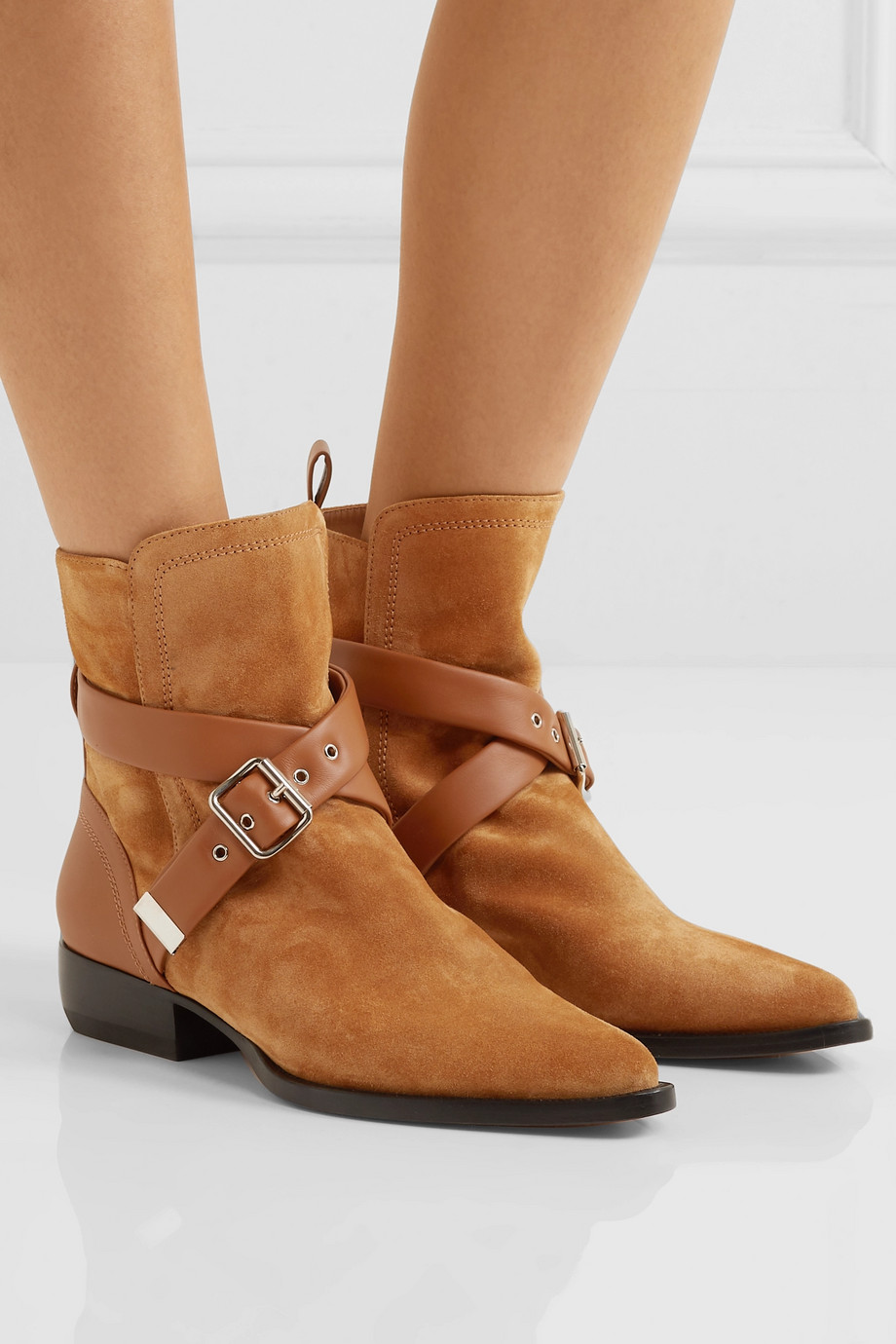 CHLOÉ Rylee suede and leather ankle boots