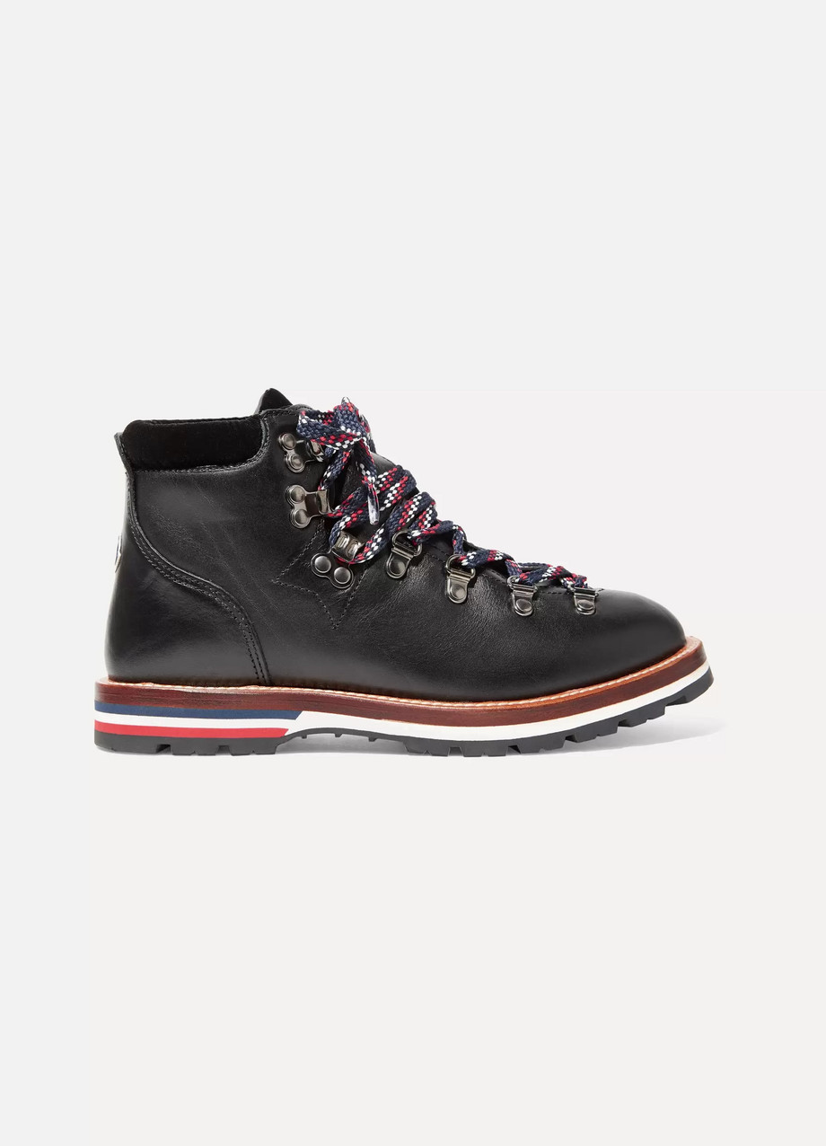 MONCLER Blanche velvet-trimmed leather ankle boots
