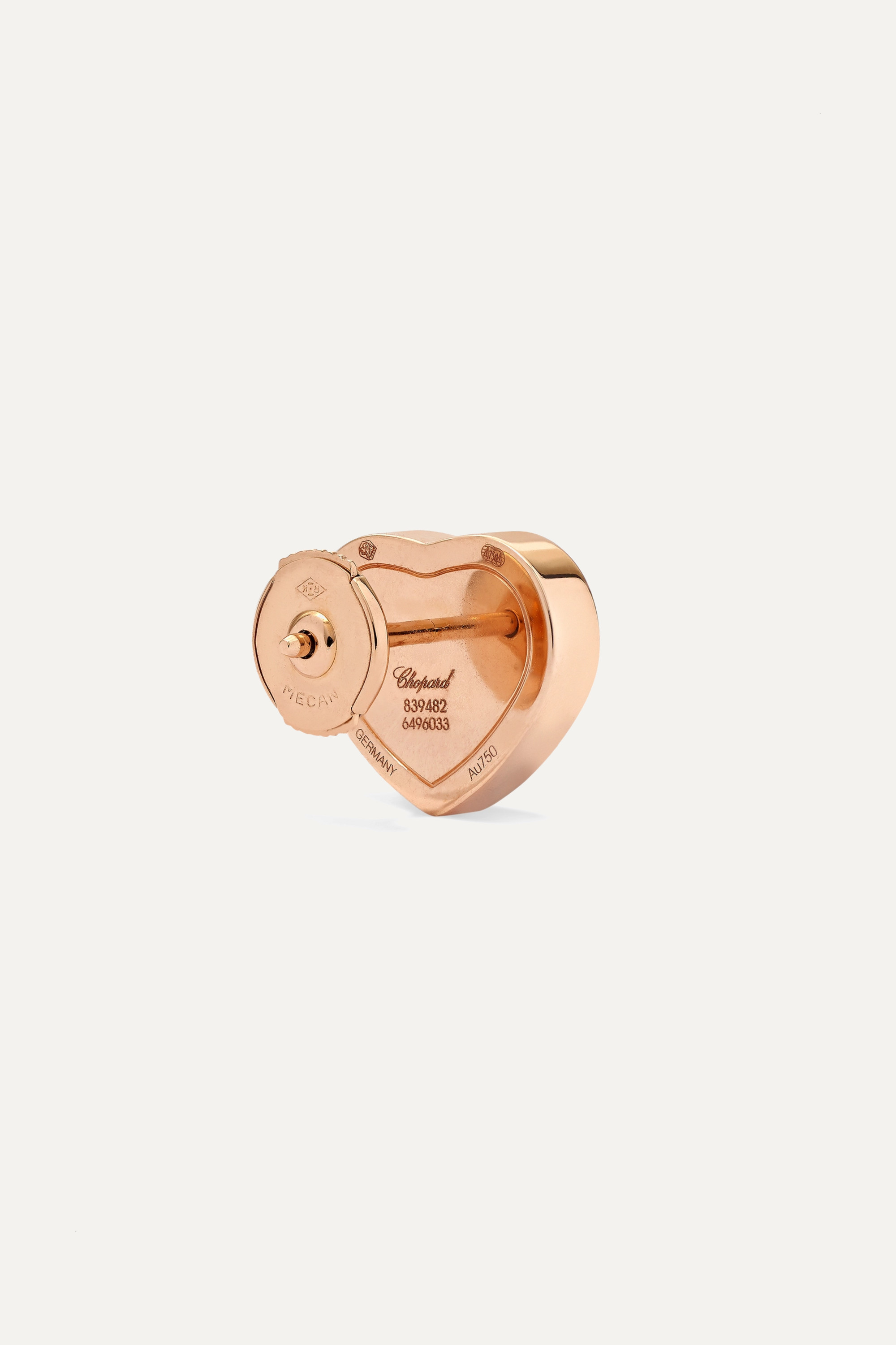 CHOPARD Happy Hearts 18-karat rose gold and red stone earrings