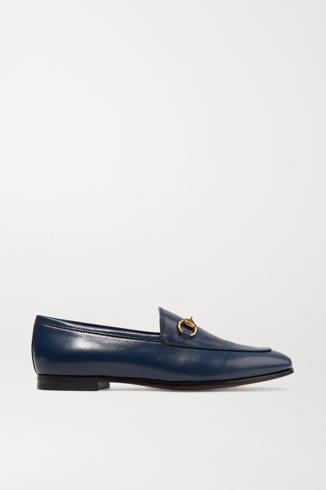 GUCCI - Jordaan Horsebit-detailed Leather Loafers - Blue - IT42