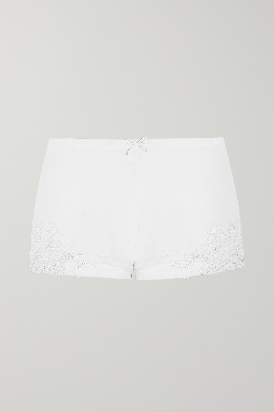 LA PERLA Souple lace-trimmed stretch-cotton jersey pajama shorts