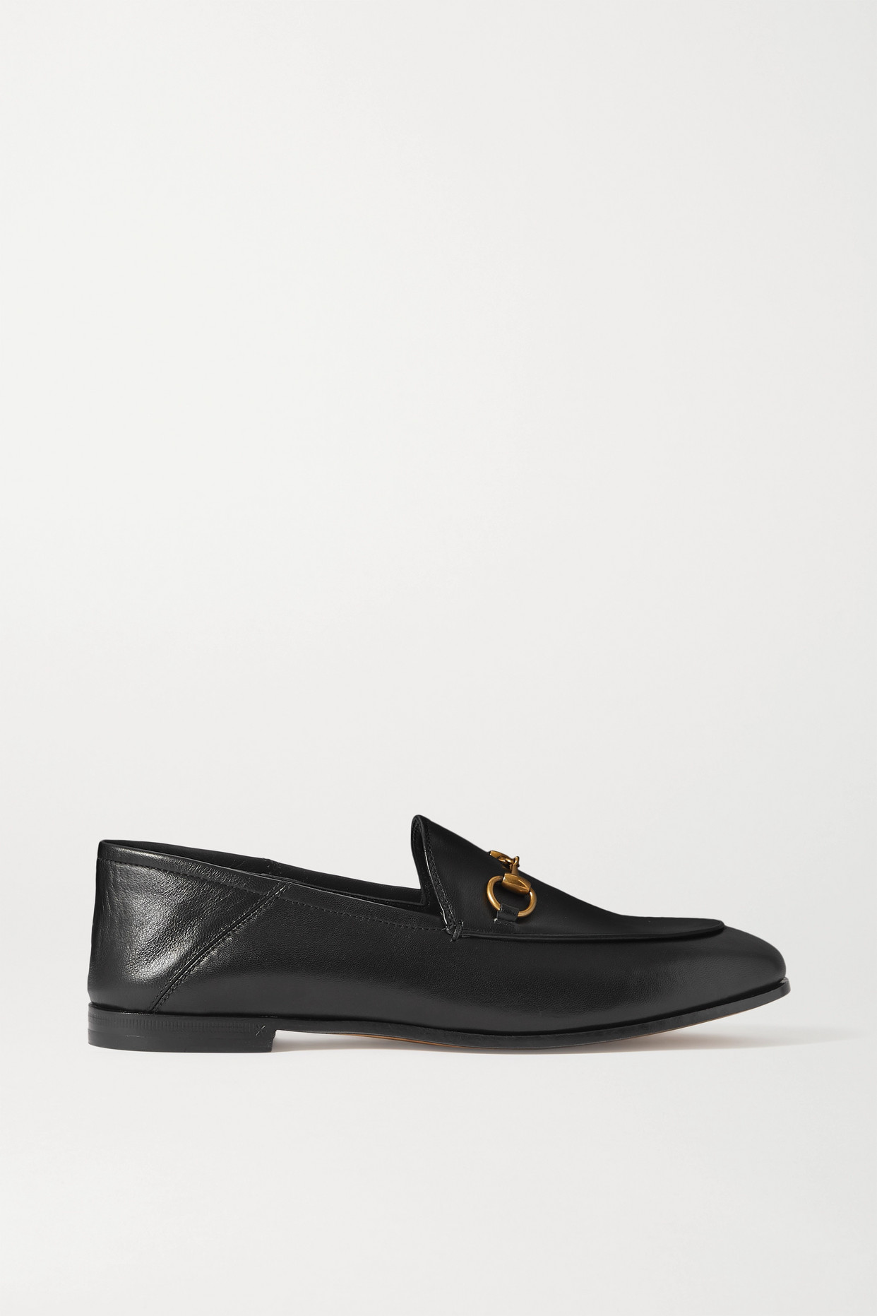 GUCCI - Brixton Horsebit-detailed Leather Collapsible-heel Loafers - Black - IT41