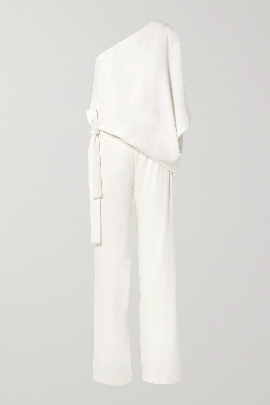 HALSTON HERITAGE One-shoulder crepe jumpsuit