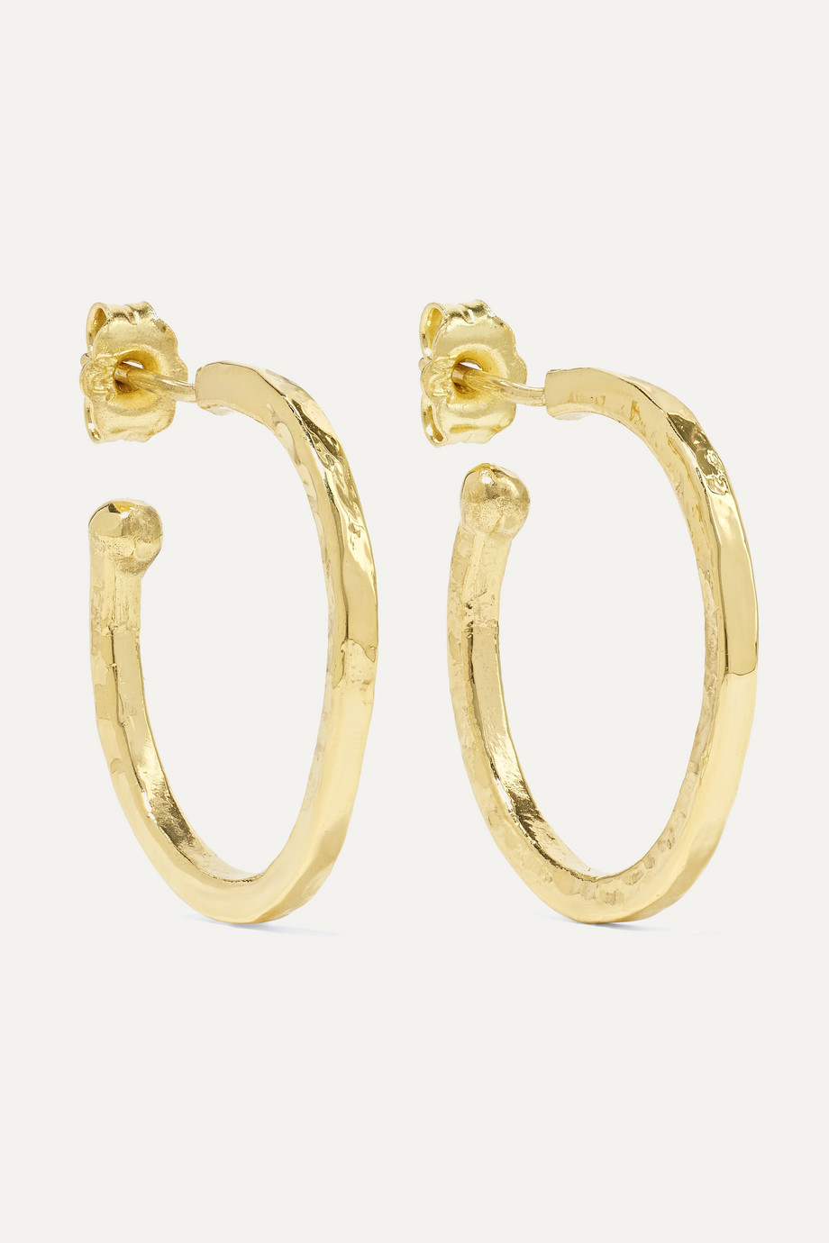 JENNIFER MEYER Hammered 18-karat gold hoop earrings
