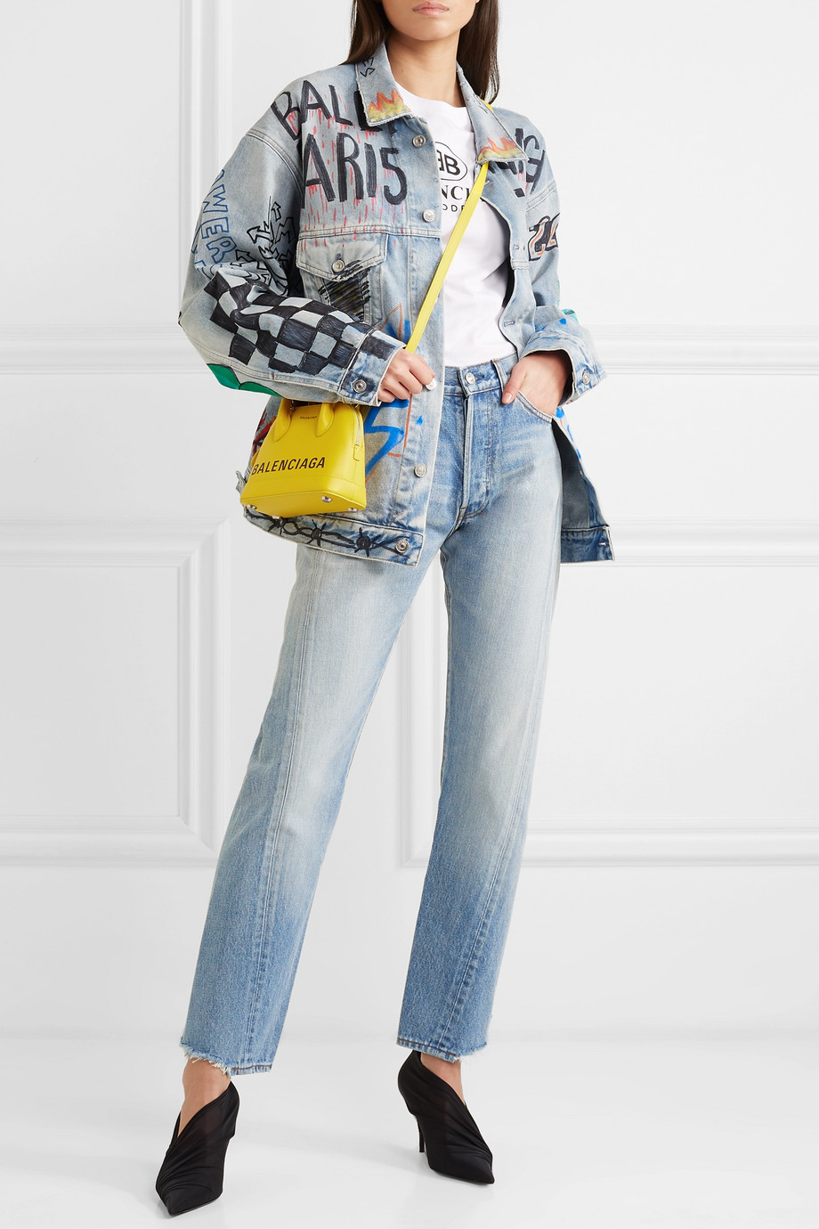 BALENCIAGA Oversized printed denim jacket