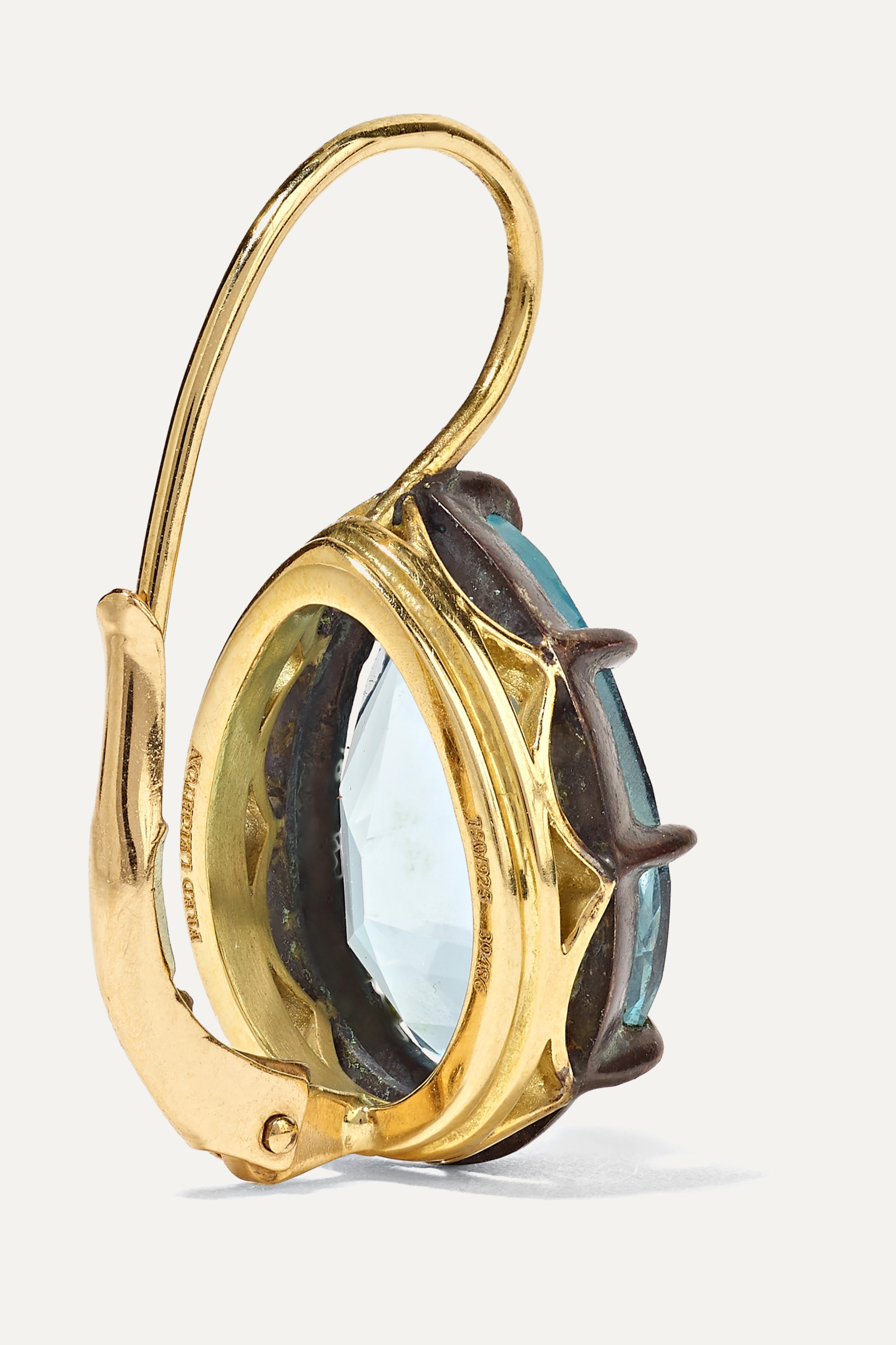 FRED LEIGHTON Collection 18-karat gold, sterling silver and topaz earrings