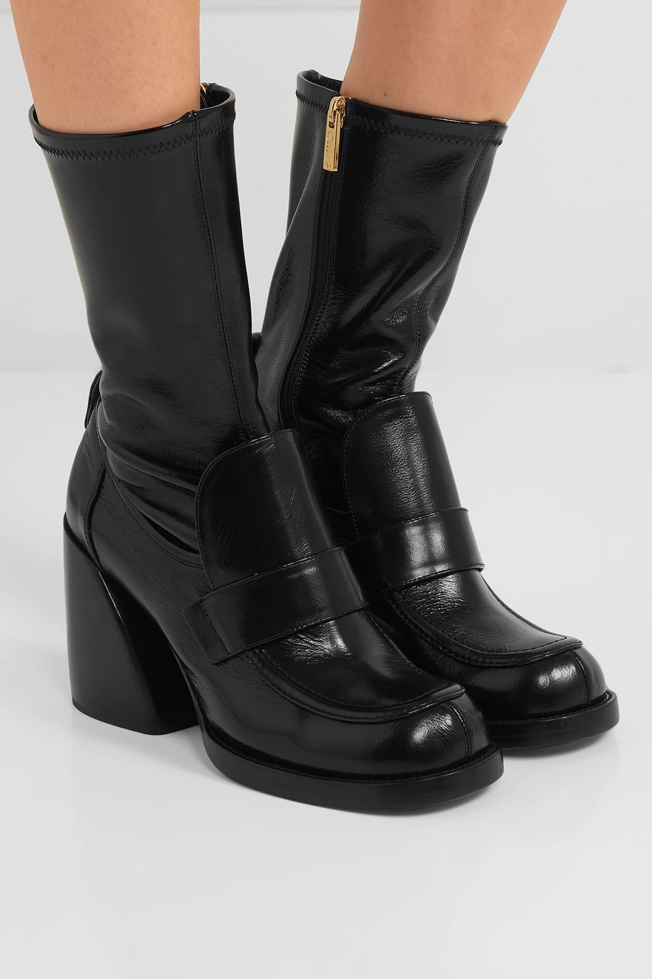 CHLOÉ Adelie glossed-leather boots
