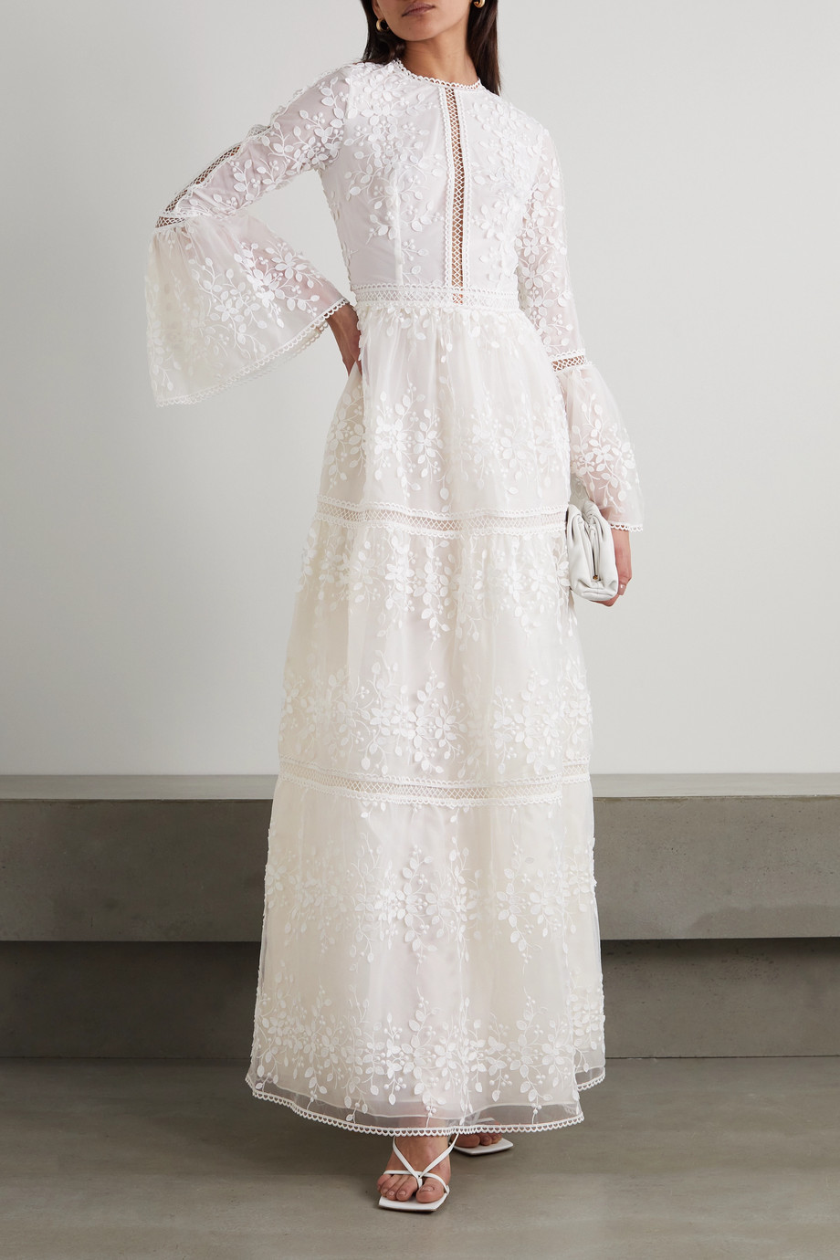 COSTARELLOS Appliquéd embroidered tulle gown