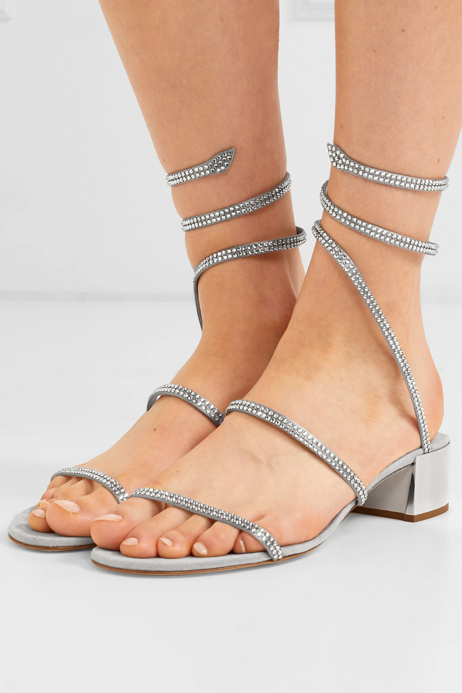 RENÉ CAOVILLA Cleo crystal-embellished satin and suede sandals