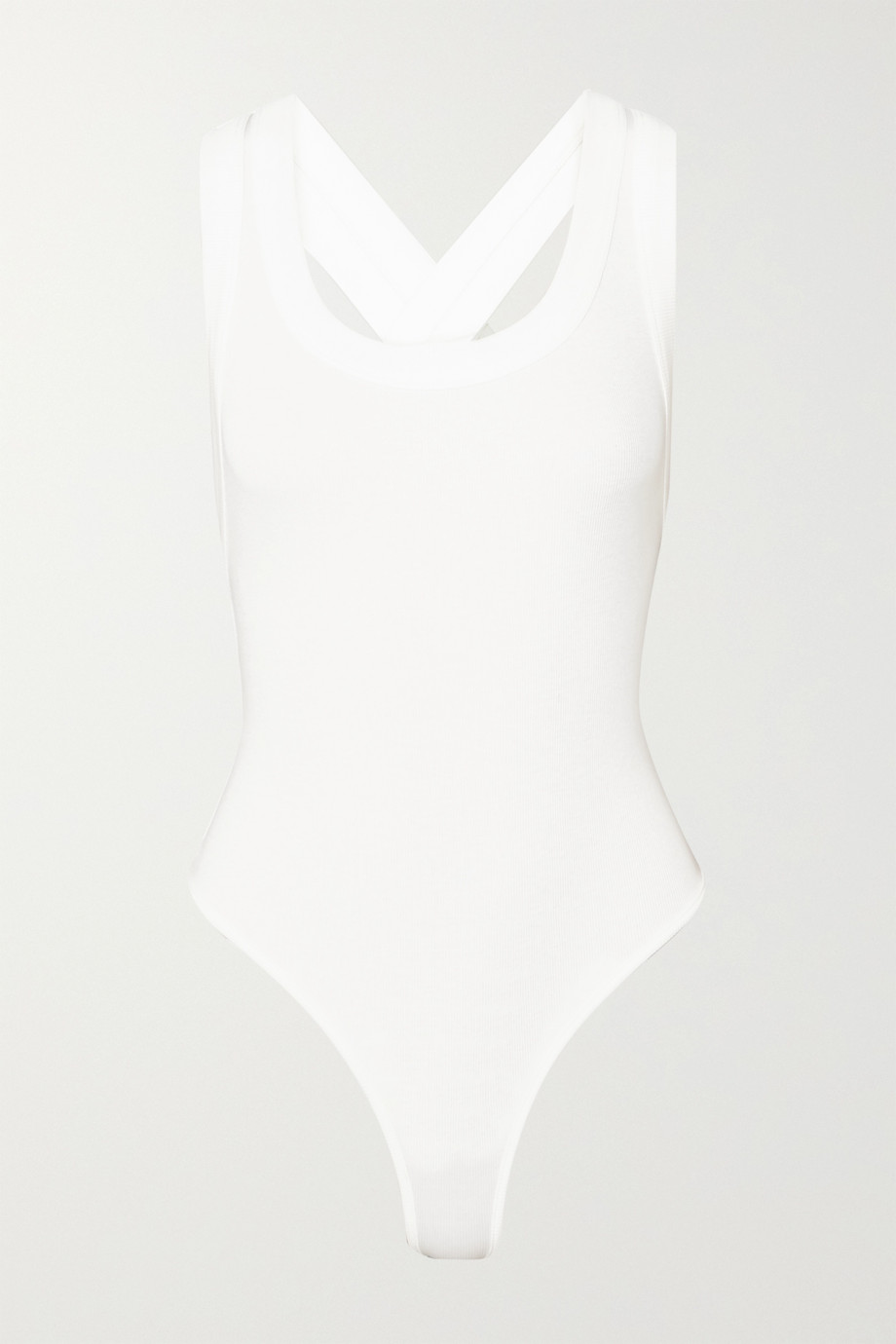 THE LINE BY K Suki ribbed stretch-cotton jersey thong bodysuit