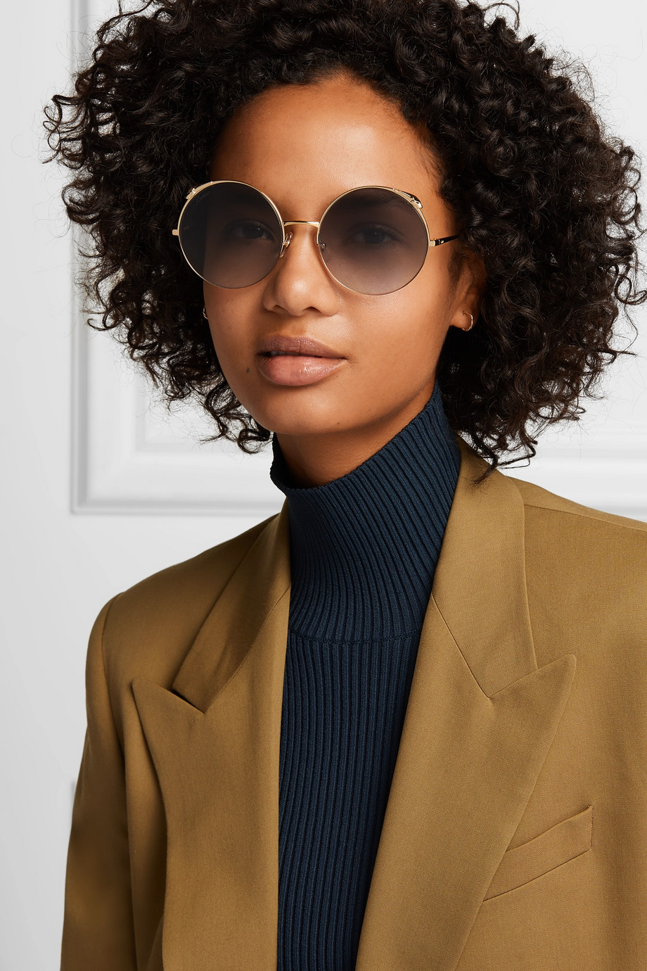 CARTIER EYEWEAR Panthère round-frame gold-tone sunglasses