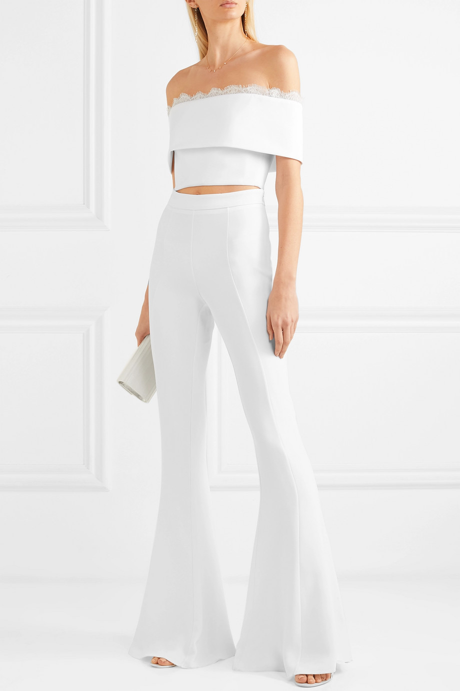 CUSHNIE Cropped off-the-shoulder lace-trimmed crepe top