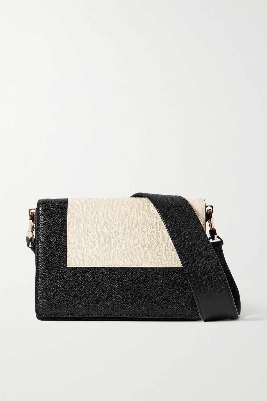 VALEXTRA Swing two-tone textured-leather shoulder bag