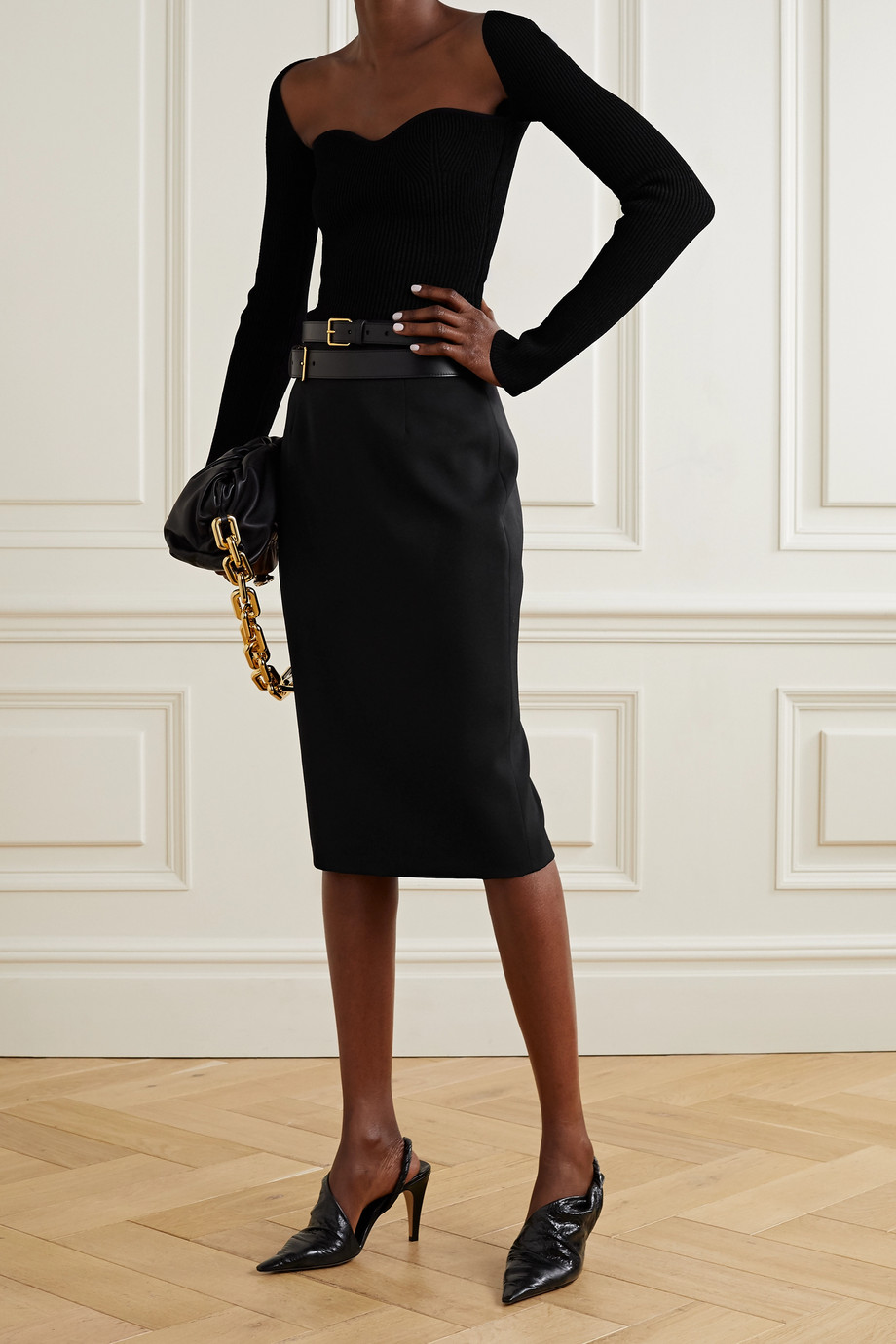 ALEXANDER MCQUEEN Grain de poudre wool pencil skirt