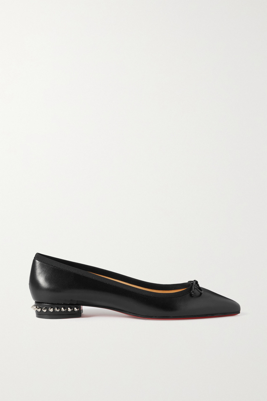 CHRISTIAN LOUBOUTIN Hall spiked glossed lizard-effect leather point-toe flats