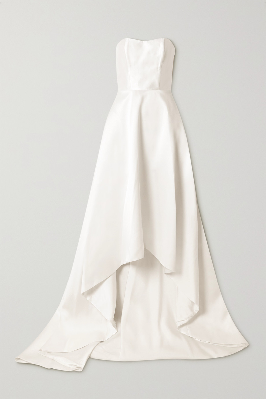 Halfpenny London Jackson strapless asymmetric duchesse-satin gown