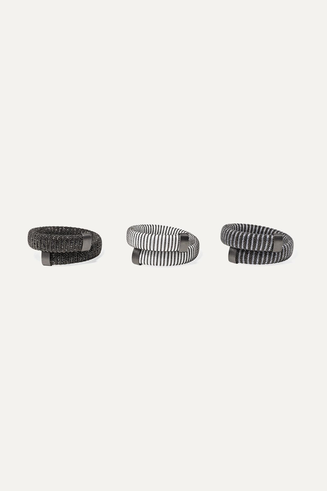 CAROLINA BUCCI - Caro Set Of Three Blackened Sterling Silver, Cotton And Lurex Bracelets - one size