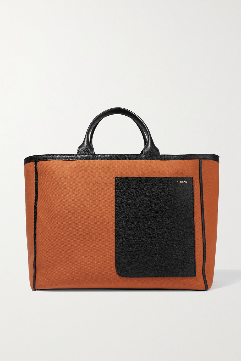 VALEXTRA Shopping two-tone leather-trimmed canvas tote