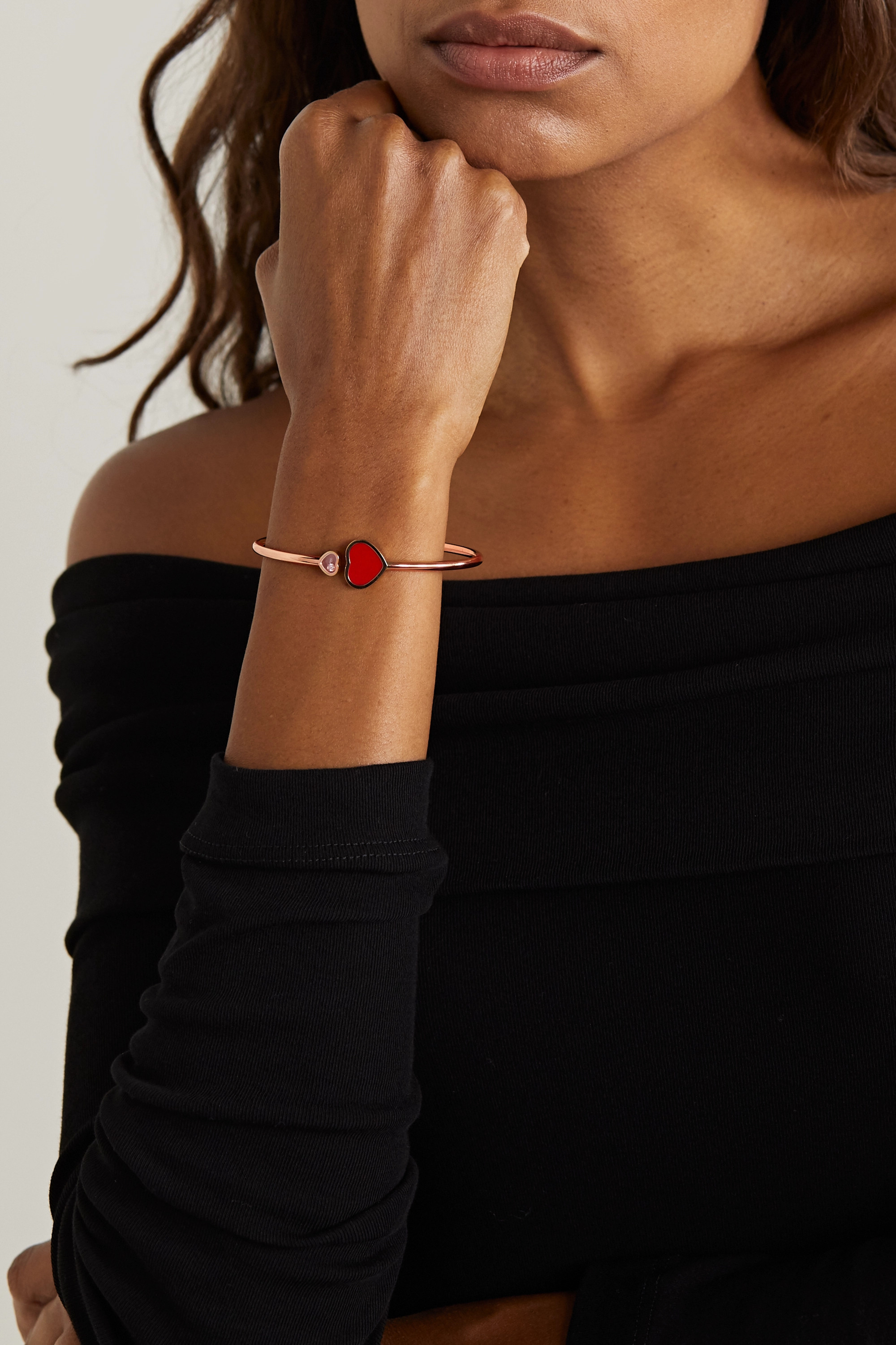CHOPARD Happy Hearts 18-karat rose gold, diamond and red stone cuff