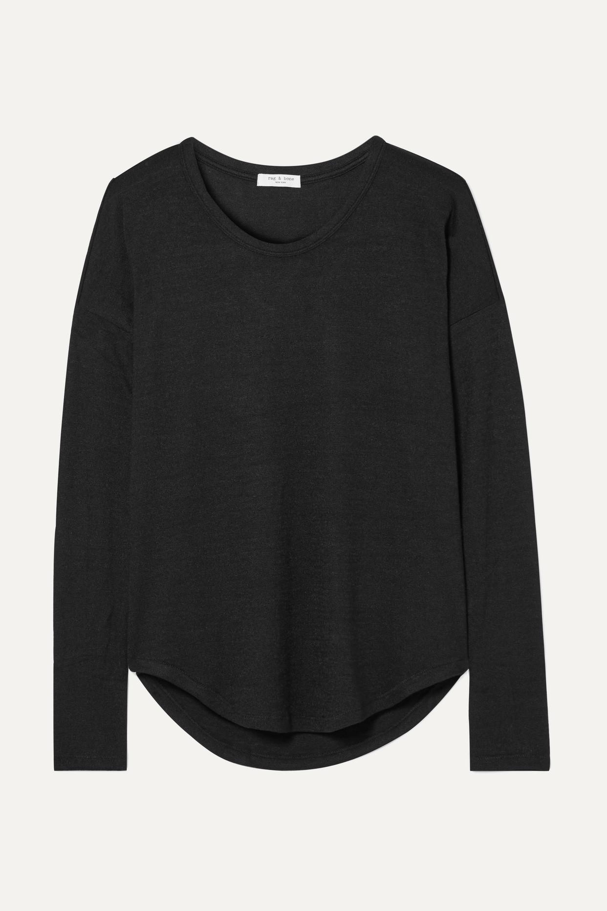 RAG & BONE - Hudson 弹力平纹布上衣 - 黑色 - medium