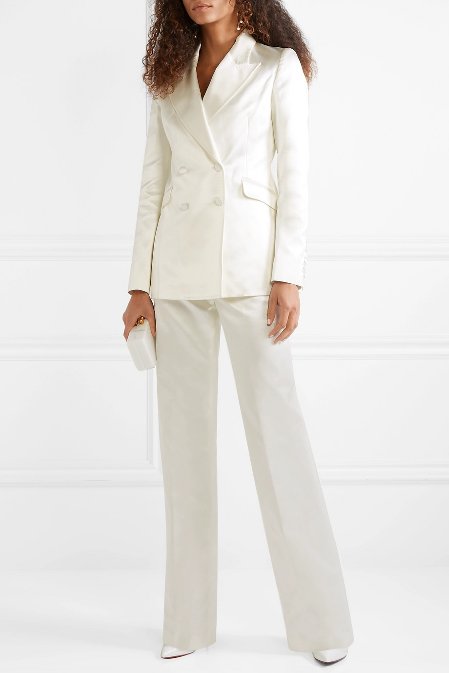 Gabriela Hearst Vesta cotton and silk-blend satin wide-leg pants