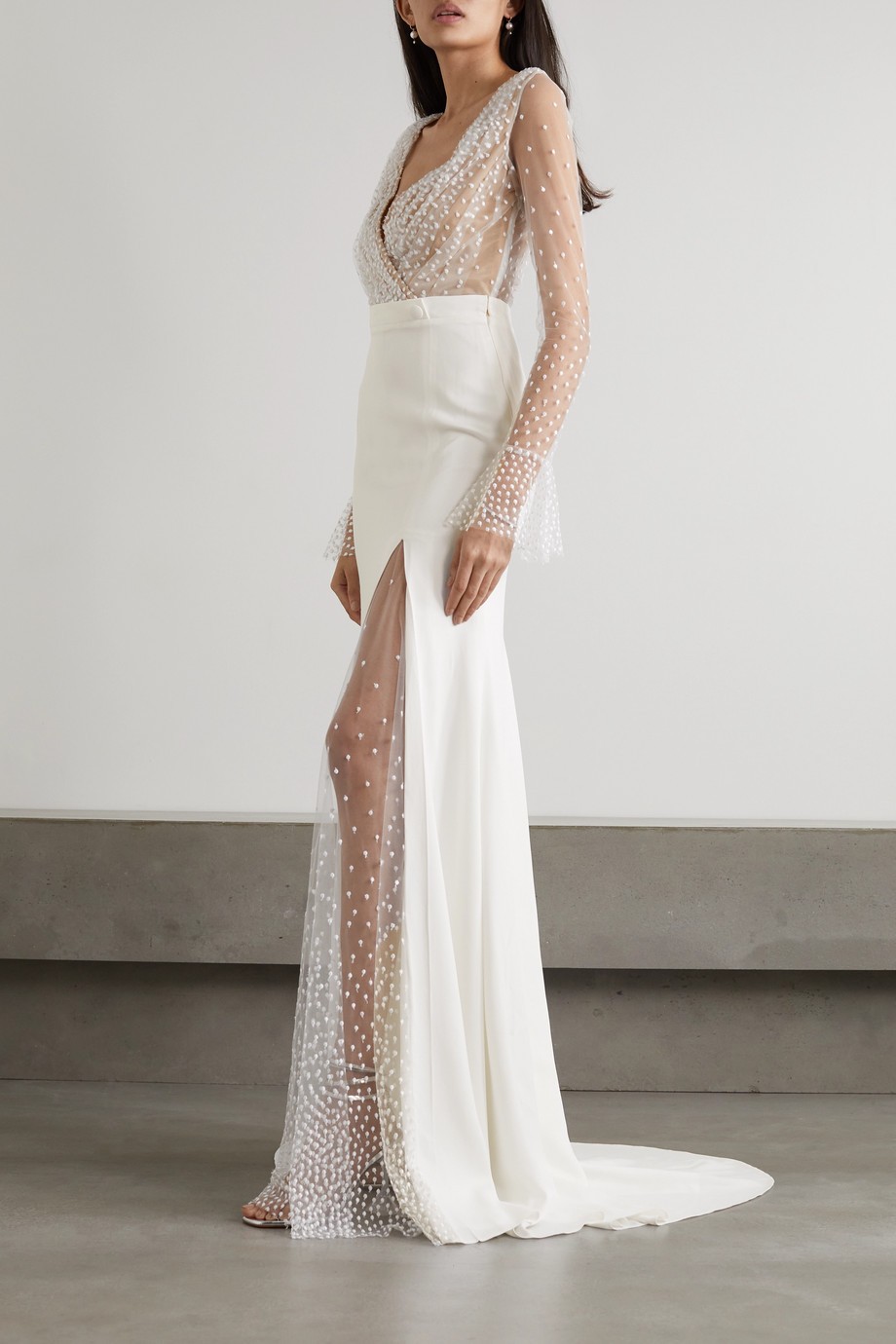 RIME ARODAKY Joni Swiss-dot tulle and crepe gown