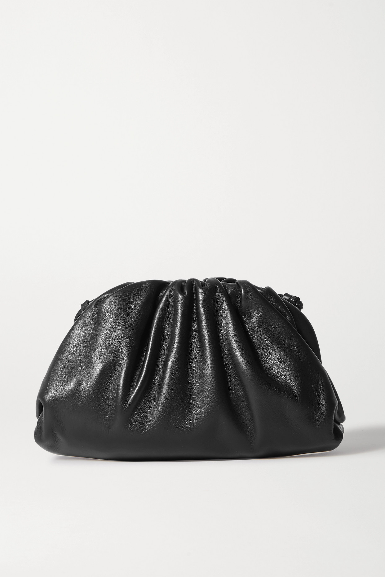 BOTTEGA VENETA - The Pouch Small Gathered Intrecciato Leather Clutch - Black - one size