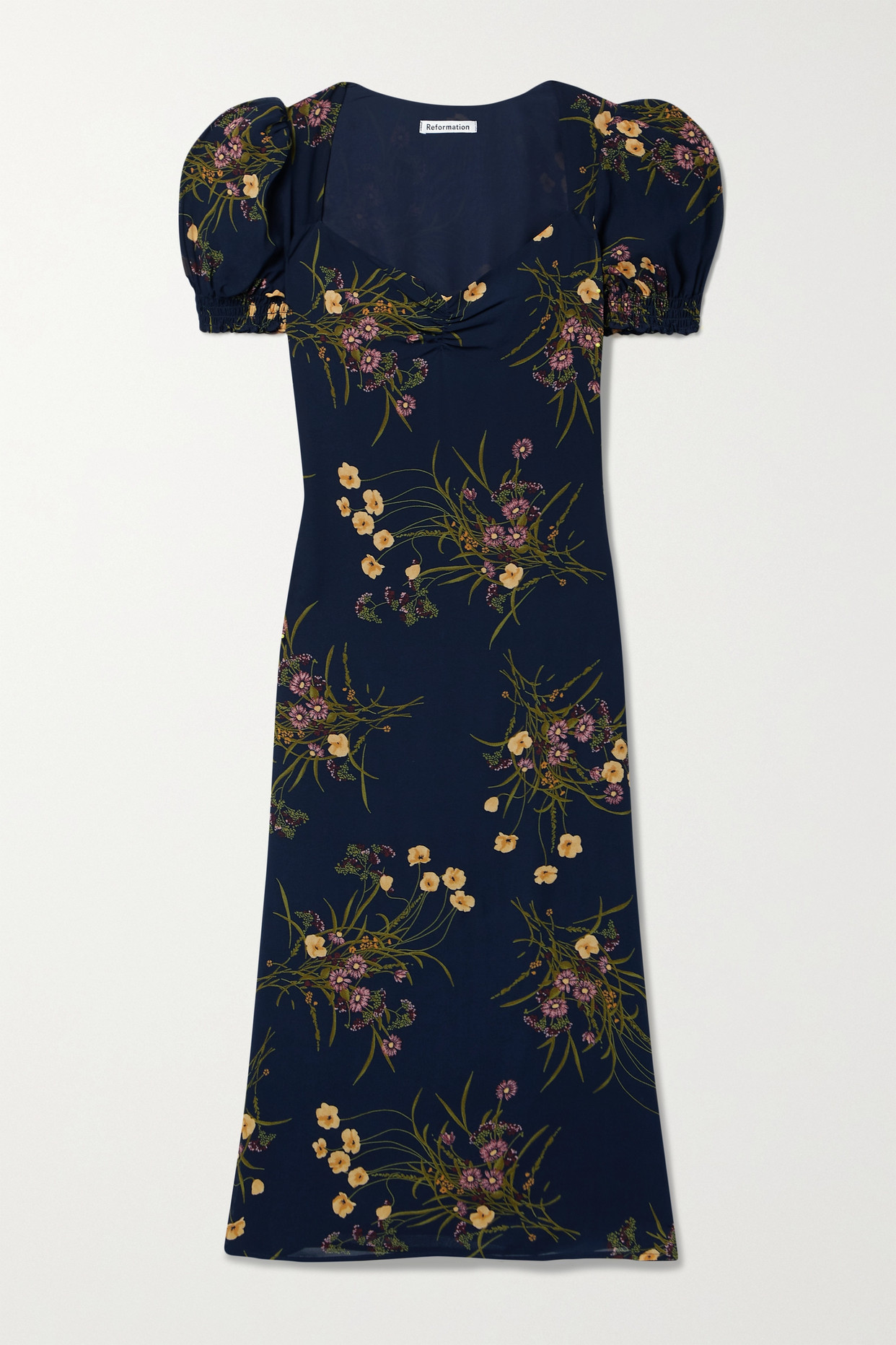 Reformation Luciana Lace-up Floral-print Crepe Midi Dress In Blue