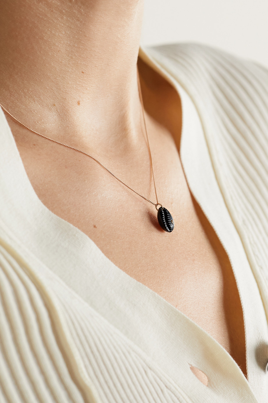 PASCALE MONVOISIN Cauri N°2 9-karat rose gold, onyx and diamond necklace