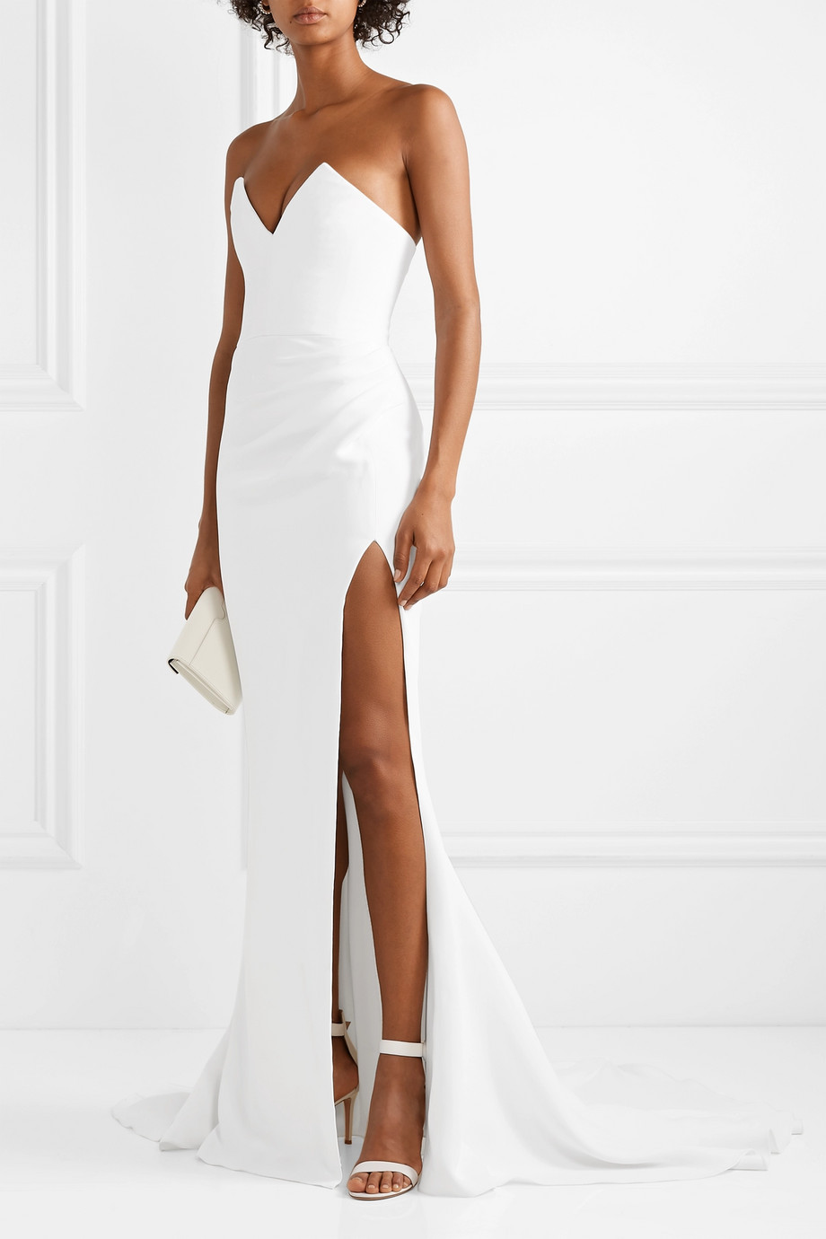 CUSHNIE Strapless ruched crepe gown