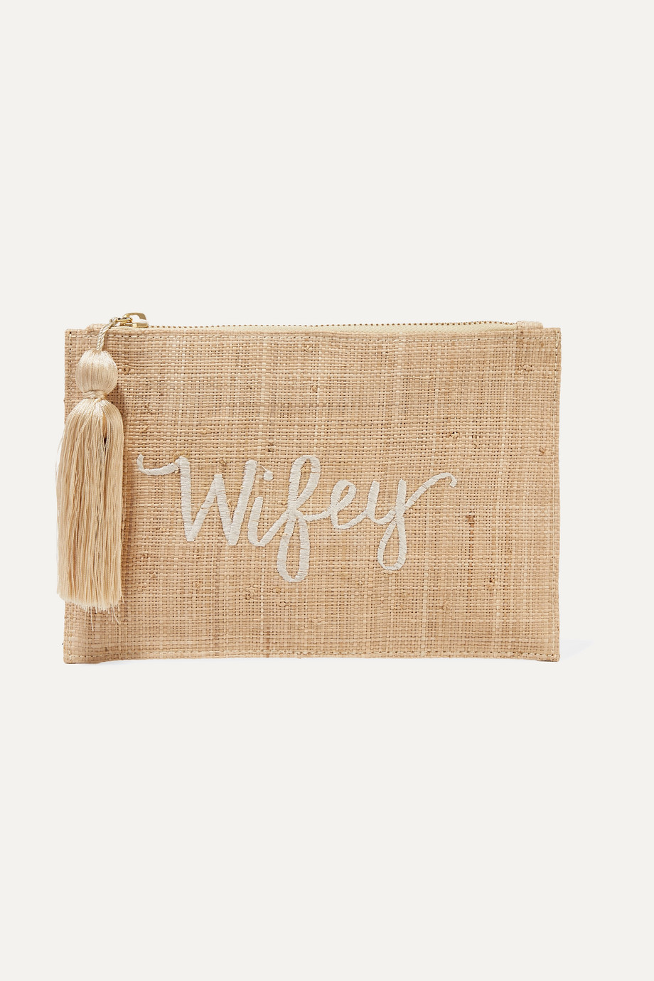 KAYU Wifey embroidered woven straw pouch