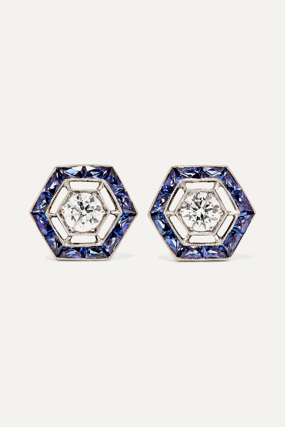 FRED LEIGHTON Collection 18-karat white gold, sapphire and diamond earrings