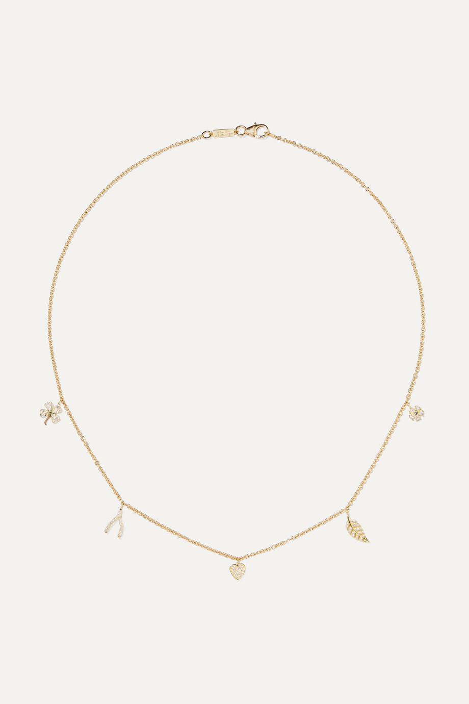 JENNIFER MEYER Mini Charm 18-karat gold diamond necklace
