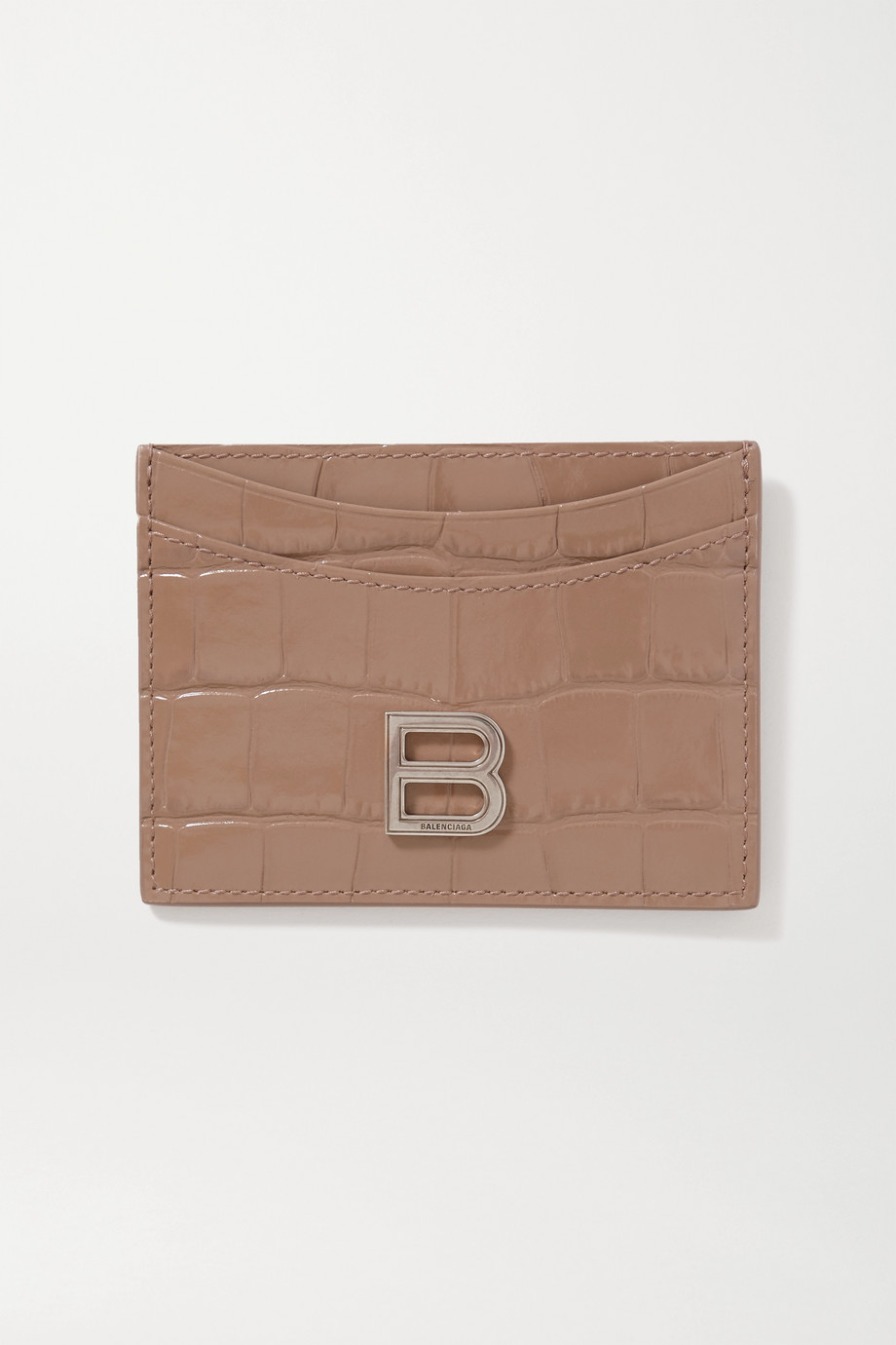BALENCIAGA Hourglass croc-effect leather cardholder